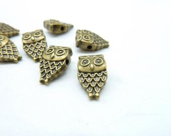 OWL Beads-30pcs 9x14mm Antique Bronze Owl Beads,Beadwork Charms Pendant,Owl Spacer Bead,Owl Charm C7290