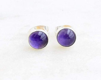 Sterling Silver and Amethyst Stud Earrings Silver Studs Amethyst earrings 6mm Round