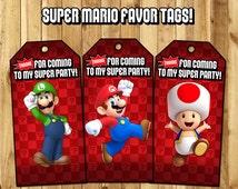 Super Mario Favor Tags - Super Mario Birthday Party Favor Tags - Download Print Super Mario Loot Bag Tags Super Mario Bros Favor Tags
