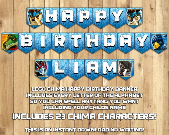 Lego Chima Birthday Banner - Instantly Downloadable Printable Customizable Legends of Chima Inspired Birthday Banner - Includes all letters