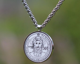 Talisman  wicca 1st pentacle of sun METATRON stainless steel set pendant + chain high quality