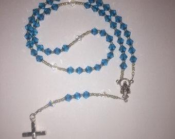 Traditional sky blue swarovski crystal rosary