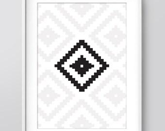Ikat Nordic Print, Geometric Art, Geometric Black and White Print, Ikat Print, aztec Print, Printable Art, Wall Art, Geometric Digital Print