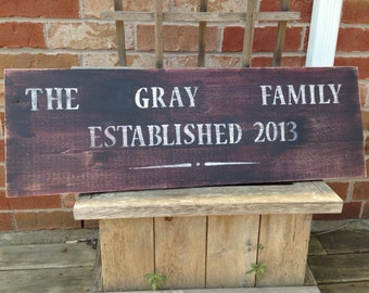"""Personalized Family sign, 12"""" x 36"""""""