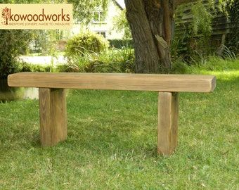 Chunky Rustic solid pine garden bench seat wooden chair