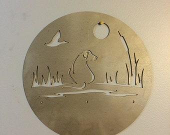 Dog/Duck Metal Wall Art Scene