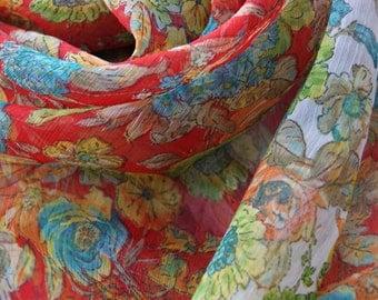 Extra Large Silk Floral Scarf, Sarong, Wrap