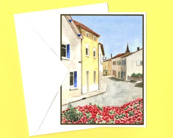 French country village greeting card