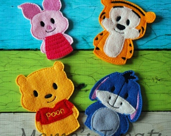Set of 4 Storybook Finger Puppets - Inspired by Pooh and Friends