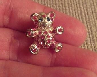 Tiny Rhinestone Bear Pin Brooch