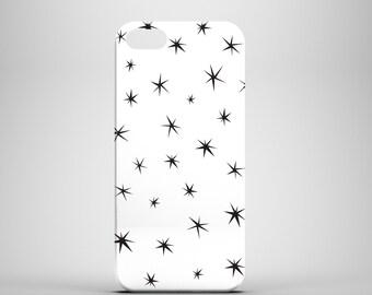 Small Black Stars phone case / black and white iPhone 7 case / iPhone 7 Plus / iPhone 6S / iPhone 6 / iPhone 5/5S / Samsung Galaxy S6