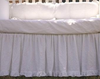 Crib bed skirt with ruffle hem, Custom Crib bedding, gathered crib skirt and 4 side bumper, Snow White crib skirt