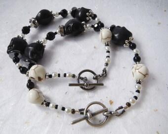 Skull Bracelet - Black, White and Silver