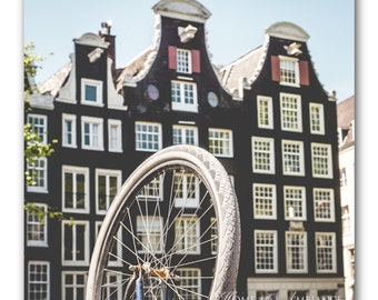 Amsterdam photography, bike art, bicycle wall art, canal houses photo print, Dutch wall decor, bicycle wheel, bike in Amsterdam, canvas art