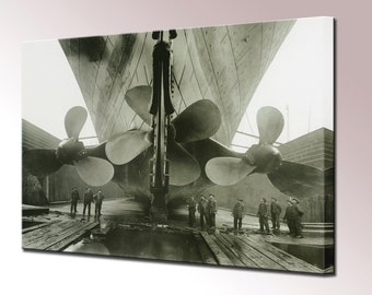 Titanic Canvas Wall Art Print Picture Propellers Framed Ready to Hang Home Decor
