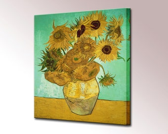 Sunflowers Van Gogh Canvas Wall Art Print Vincent Picture Framed Ready To Hang Decor