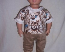Easter, Handmade doll clothes, doll Khaki jeans, print doll shirt, Doll outfits, doll clothing for 18 inch and American girl dolls,