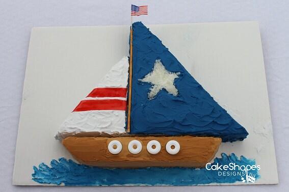 sailboat cut up cake pattern