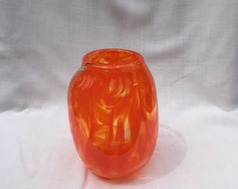 Orange Hand Blown Glass Vase (AW V315)
