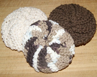 Cotton Crochet Pot Scrubbers- Set of Three, Coffee Break