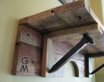 Railroad Spike Shelf, Country Western Shelving, Repurposed Pallet Shelves