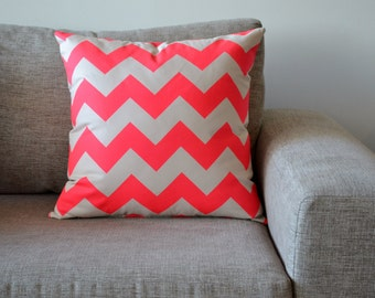 Cushion Cover Neon Pink Chevron Print Size 46cm x 46cm