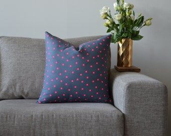 Cotton Cushion Cover Grey & Neon Pink Spotty Spot Pattern Size 56cm x 56cm