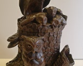 Rare & Magnificent Figural Black Forest Tobacco Box - Owl Family c.1900
