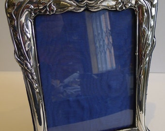 Large Antique English Art Nouveau Sterling Silver Photograph Frame 1902