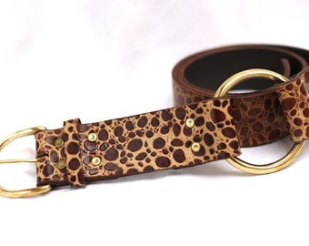 Turkana leopard leather belt