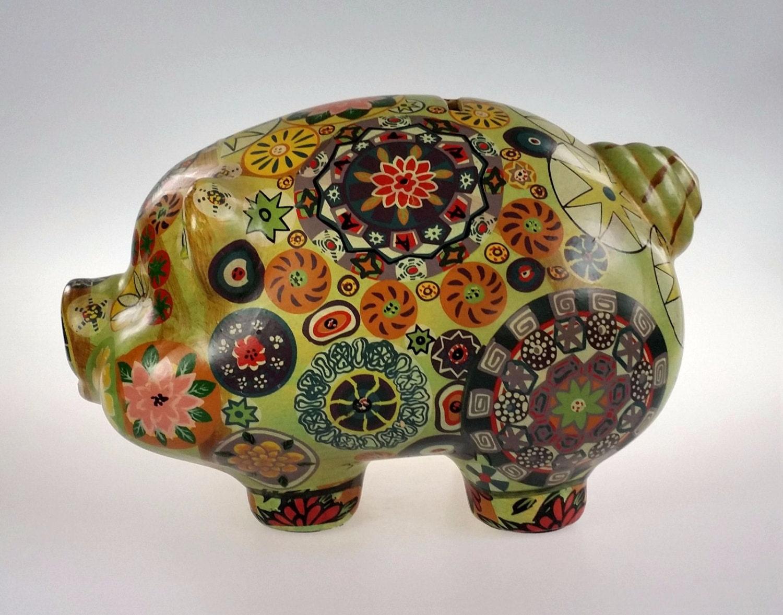 Large Ceramic Still Piggy Bank Vintage By Westartedwithamouse