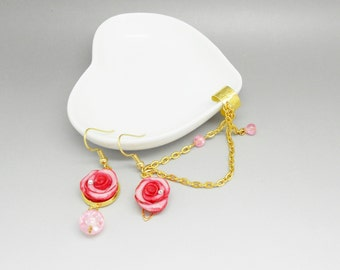 ear cuff Golden with pink roses shaped earrings