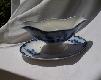 Antique Sauce or Gravy Boat from Holland, Flow Blue, Etruria Blue