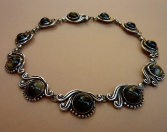 Gorgeous Vintage Signed Gerardo Lopez Mexican Taxco Sterling Silver Obsidian Necklace