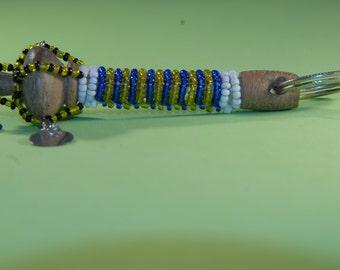 Beaded Maasai 'talking stick' key chain