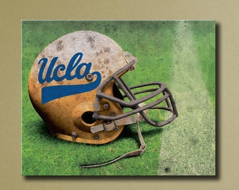 UCLA Bruins Canvas Wall Art, Grunge Football Helmet on Field, 16x20 stretched canvas sports decor