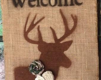 Welcome Banner- Welcome Sign-Welcome Door Banner- Buck- Deer-Rustic- Burlap- Camouflage Rosette- Father's Day