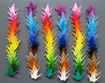 120 Handmade Small Origami Cranes - 40 different colors