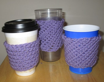 Coffee Cozy Java Jacket Solo Sleeve crochet using Purple/Lavender Yarn Ready To Ship