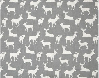 1 Yard Gray and White Deer Fabric - Premier Prints Storm and White Twill Deer Fabric ONE YARD