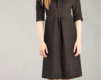 Linen Dress Black Linen Work Dress   Washed Linen Feminine 3/4 Sleeve dress Romantic  Natural Flax Dress / Fitted Linen Dress