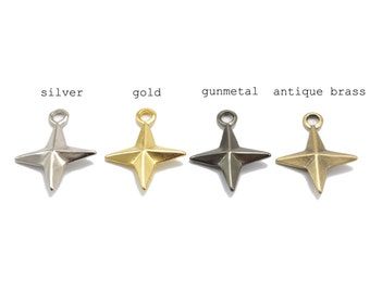 10 pieces - shuriken Charms, Ninja star Charms, Weapon Charms Pendants Findings - SRR.4