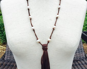 Pearls and Leather Tassel Necklace, Leather and fresh water pearl knotted necklace with leather tassel