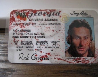 The Walking Dead [ Rick ]  Blood spatter Drivers License - B3G1F