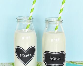 Milk Bottles with Vinyl Chalkboard Labels (Set of 12)