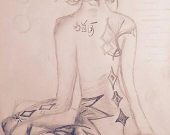Tattooed woman on box. Pencil drawing 17/17