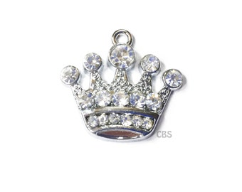 1-5 Rhinestone Crown or Tiara Charm or Pendant. Beautiful Pendant.