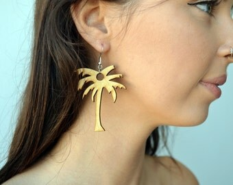 Wooden Palm Tree Earrings