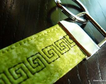 Green Quilted Key Fob Wristlet/Handmade Fabric KeyFob