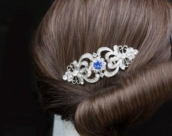 sapphire hair comb,blue hair comb,bridal hair comb,wedding hair comb,wedding hair accessories,art deco hair comb,wedding comb,hair comb